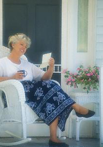 A woman in Louisville Kentucky on her porch