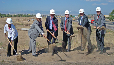 Local, state, and federal officials break ground on the Central Park Blvd Interchange project.