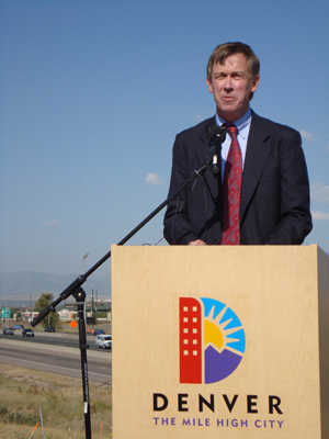 Denver Mayor John Hickenlooper speaks at the Stapleton Central Park Blvd Interchange groundbreaking ceremony.
