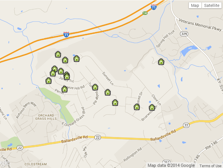 Briar Hill Homes for sale Map