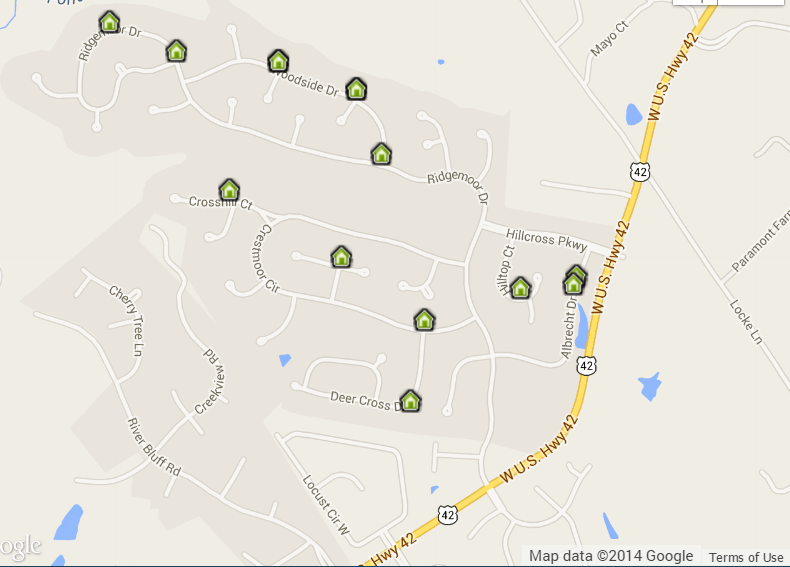 Hillcrest Homes for Sale Map