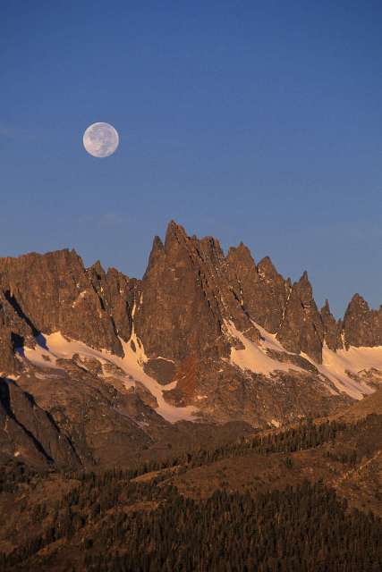 Full Moon Over Minarets at Sunrise