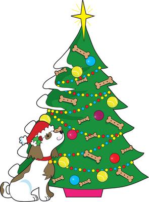 tree, dog, christmas