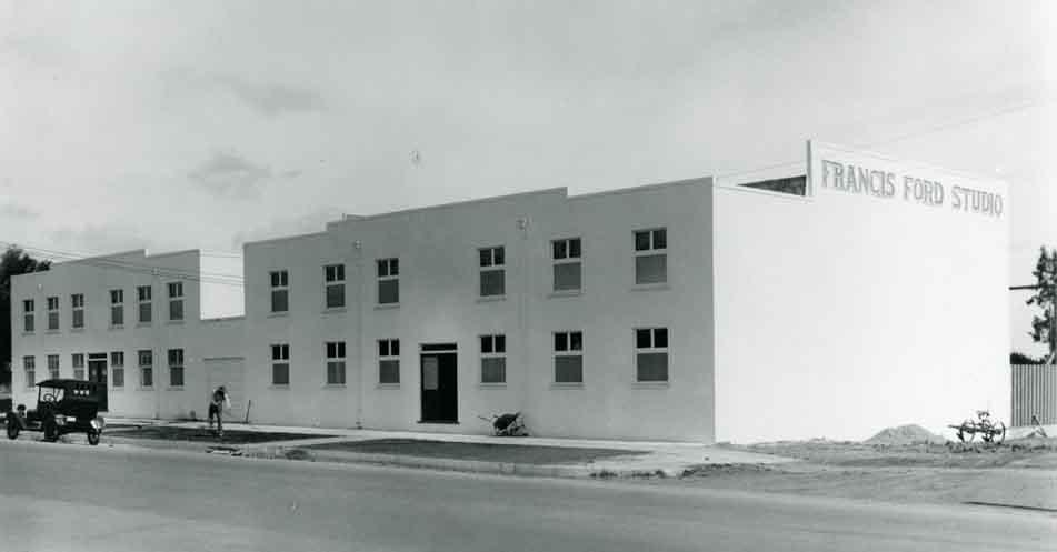 Vintage photo of early Hollywood movie studio