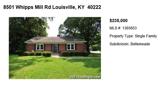 Home for sale in Louisville: 8501 WHIPPS MILL RD LOUISVILLE, KY 40222