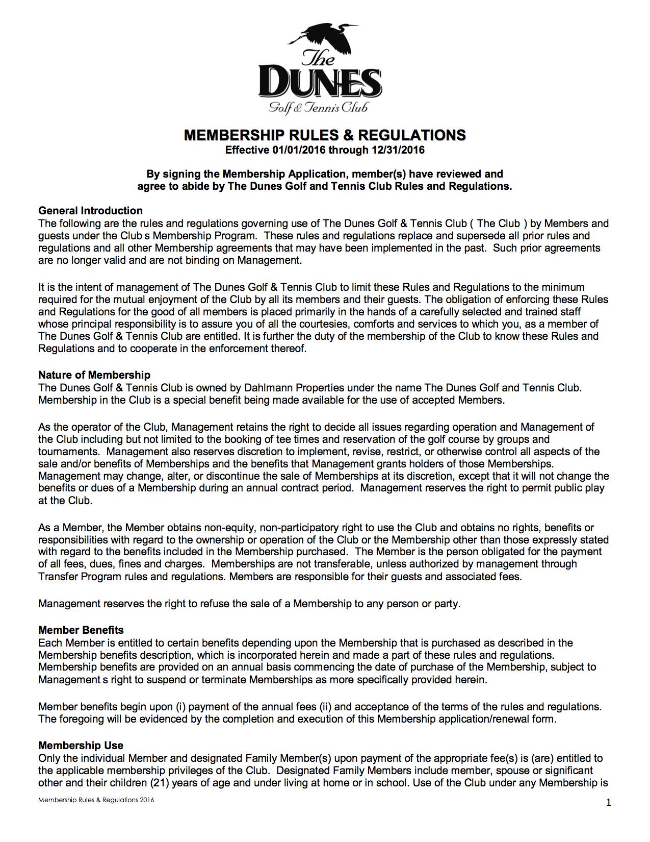 Dunes Golf Club Membership Rules & Regs