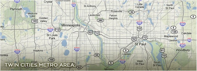 Map of the Twin Cities and Surrounding Areas