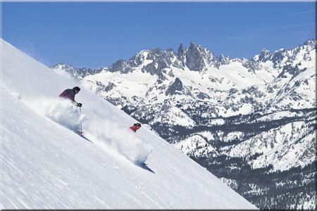 Skiers Enjoying Mammoth Mountain Fresh Snow