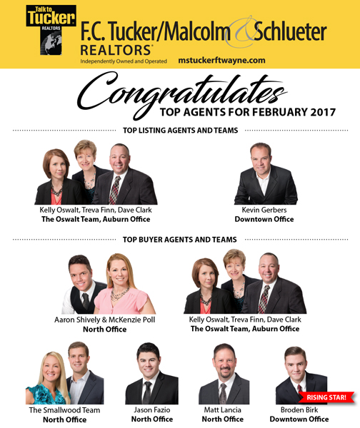 February 2017 Top Selling and Listing Agents