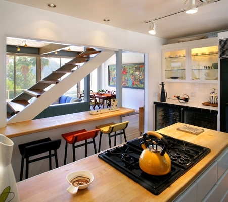 1973 REDESDALE in Silver Lake has open kitchen and floating staircases