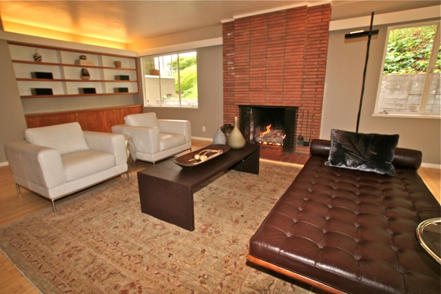 4525 Cockerham Dr. - Los Feliz Mid-Century home living room with fireplace