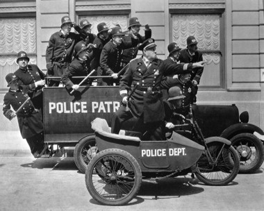 Keystone Kops from Mack Sennett Studios - The studio buidling is still in Echo Park