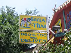 Leela Thai Sign on Silver Lake Blvd