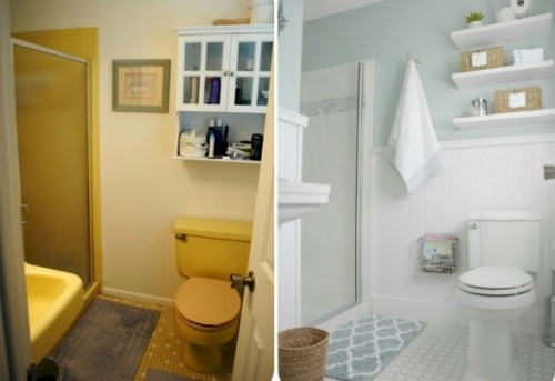 before and after pictures of a minor bath remodel