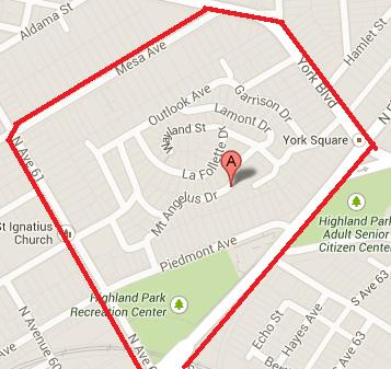 Map of the Mount Angelus neighborhood of Highland Park