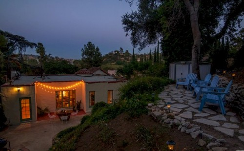 Tranquil Silver Lake yard with patio