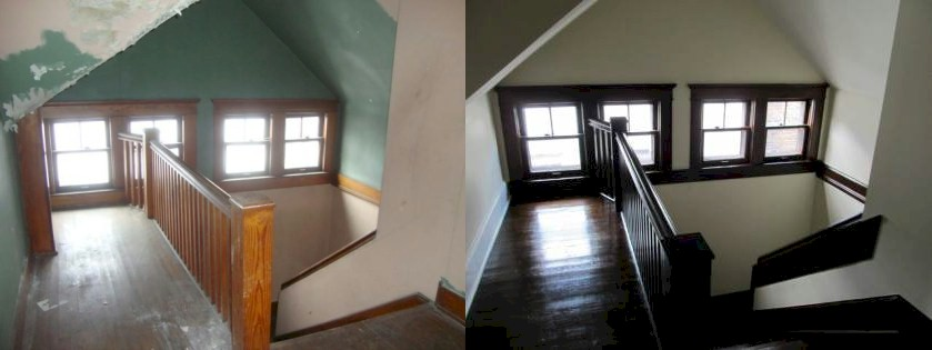 before and after photos of a renovated craftsman home