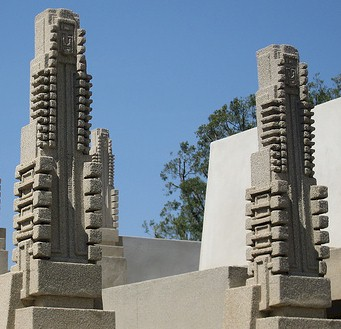 exterior details of the Hollyhock house depict the hollyhock flower