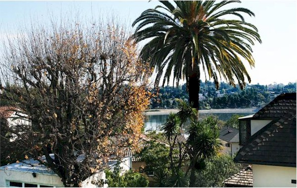 Great Silver Lake Reservoir view from this Mid Century home