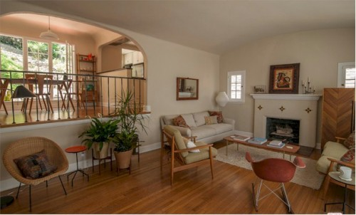Silver Lake Spanish with fireplace and hardwood floors