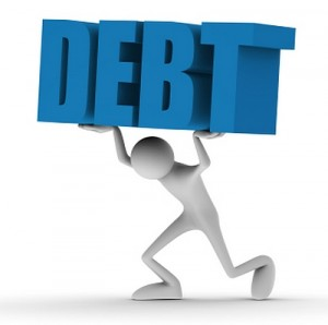 man under debt