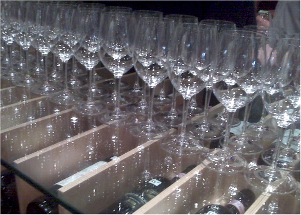 wine glasses set up for tasting at Silver Lake Wine