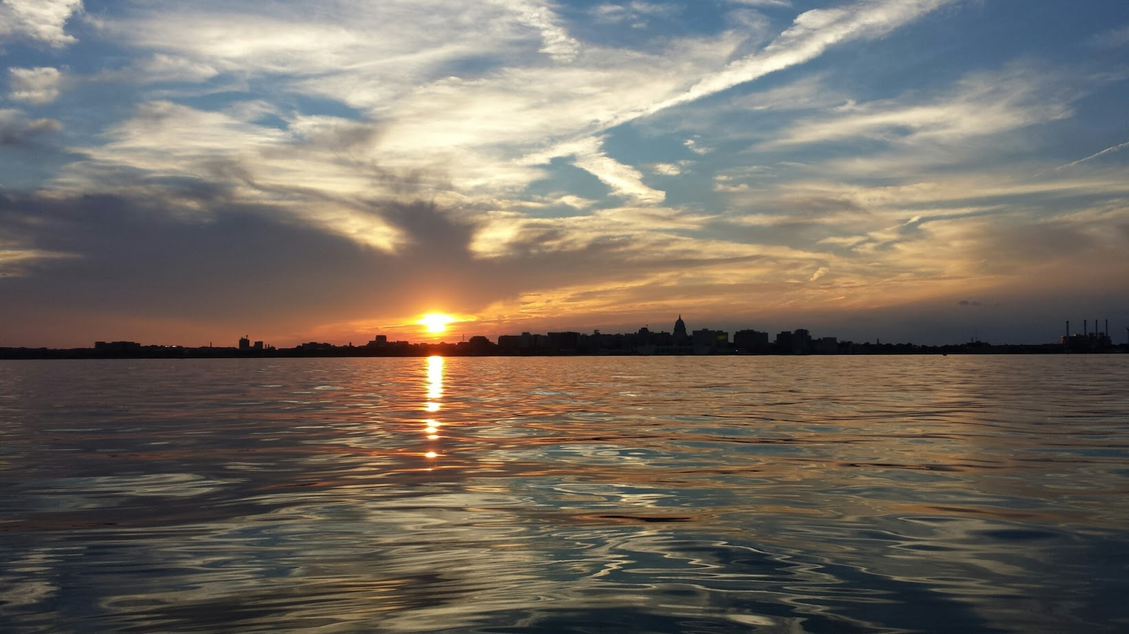 sunset over lake monona of downtown madison