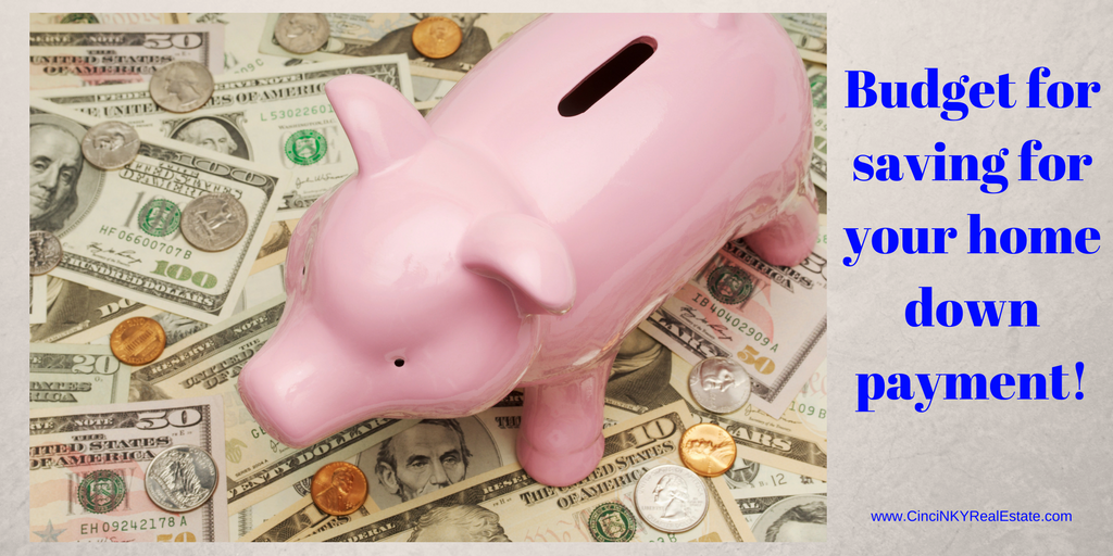 budget for saving your first home's down payment picture of a piggy bank on money