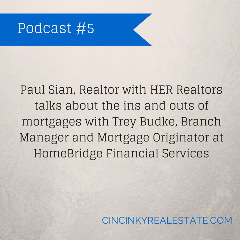 Graphic with the words Paul Sian, Realtor with HER Realtors talks about the ins and outs of mortgages with Trey Budke, Branch Manager and Mortgage Originator at HomeBridge Financial Services