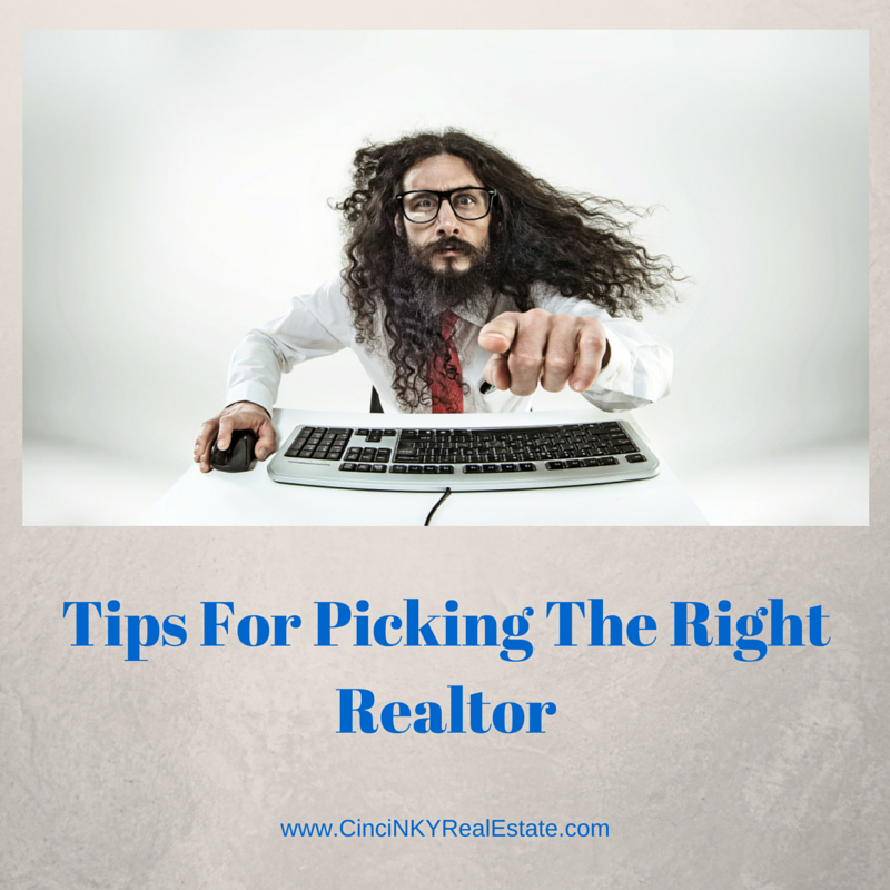 Graphic of man pointing for tips for picking the right realtor