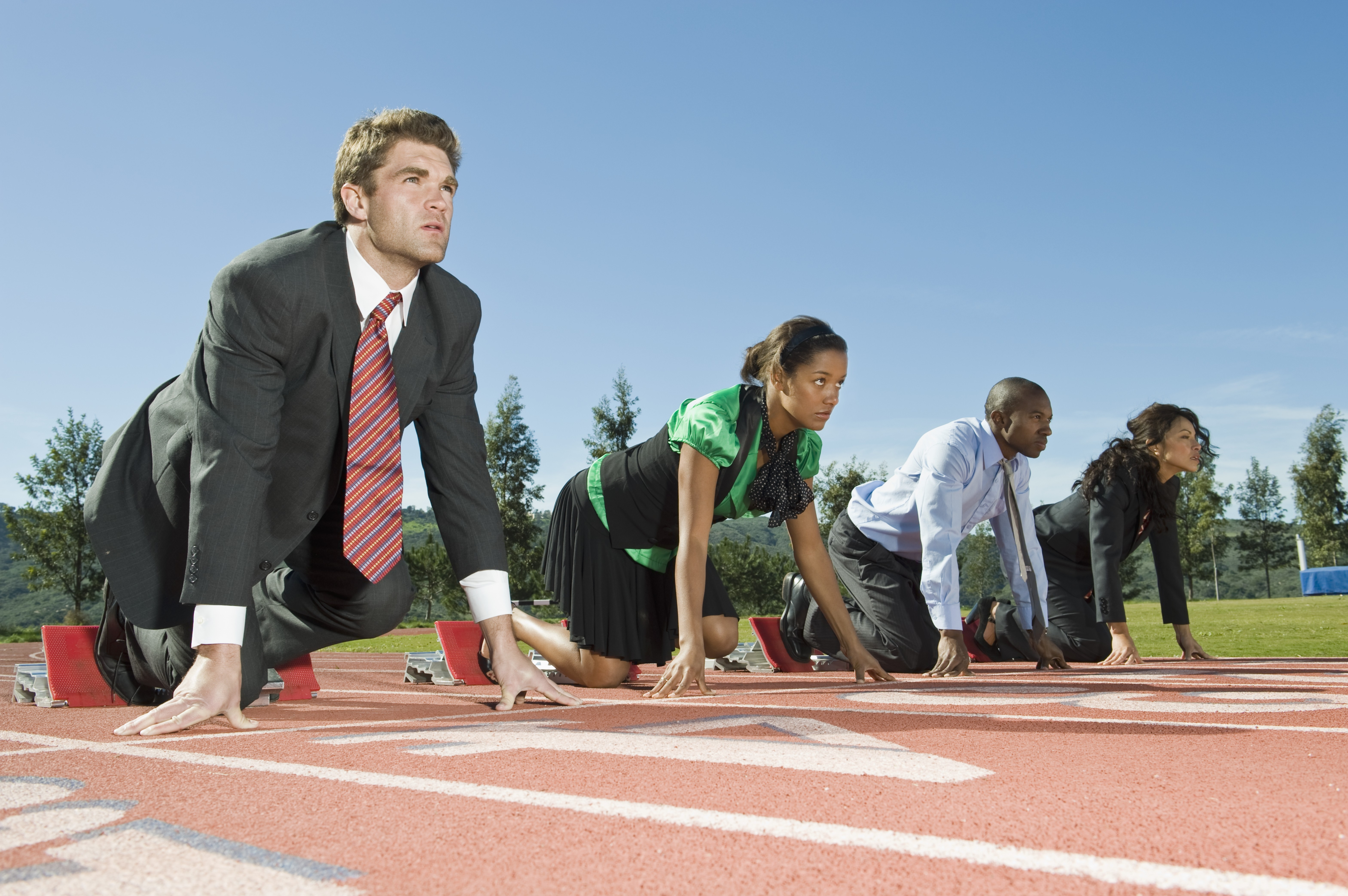 picture of business people on starting blocks