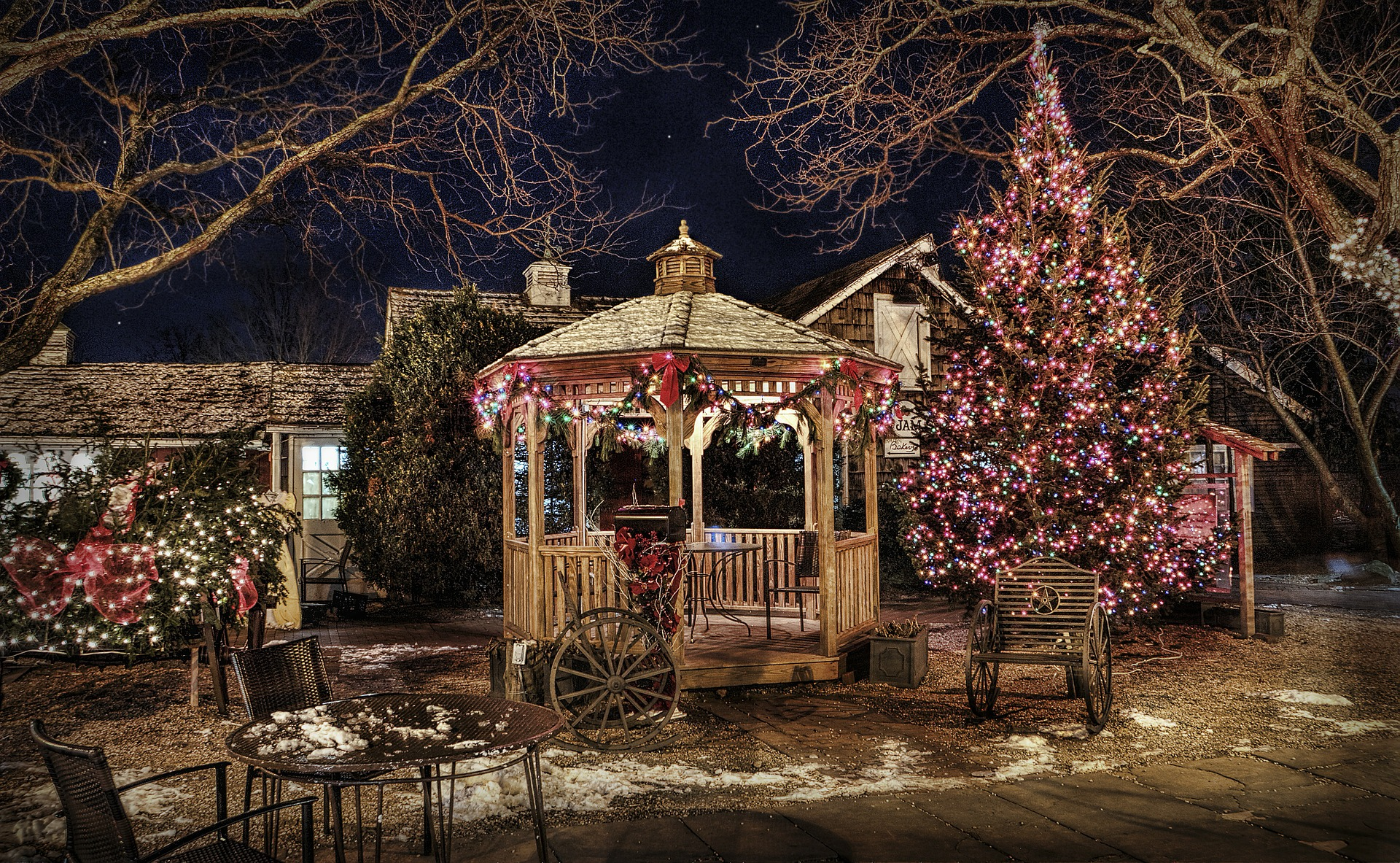 christmas decor in backyard