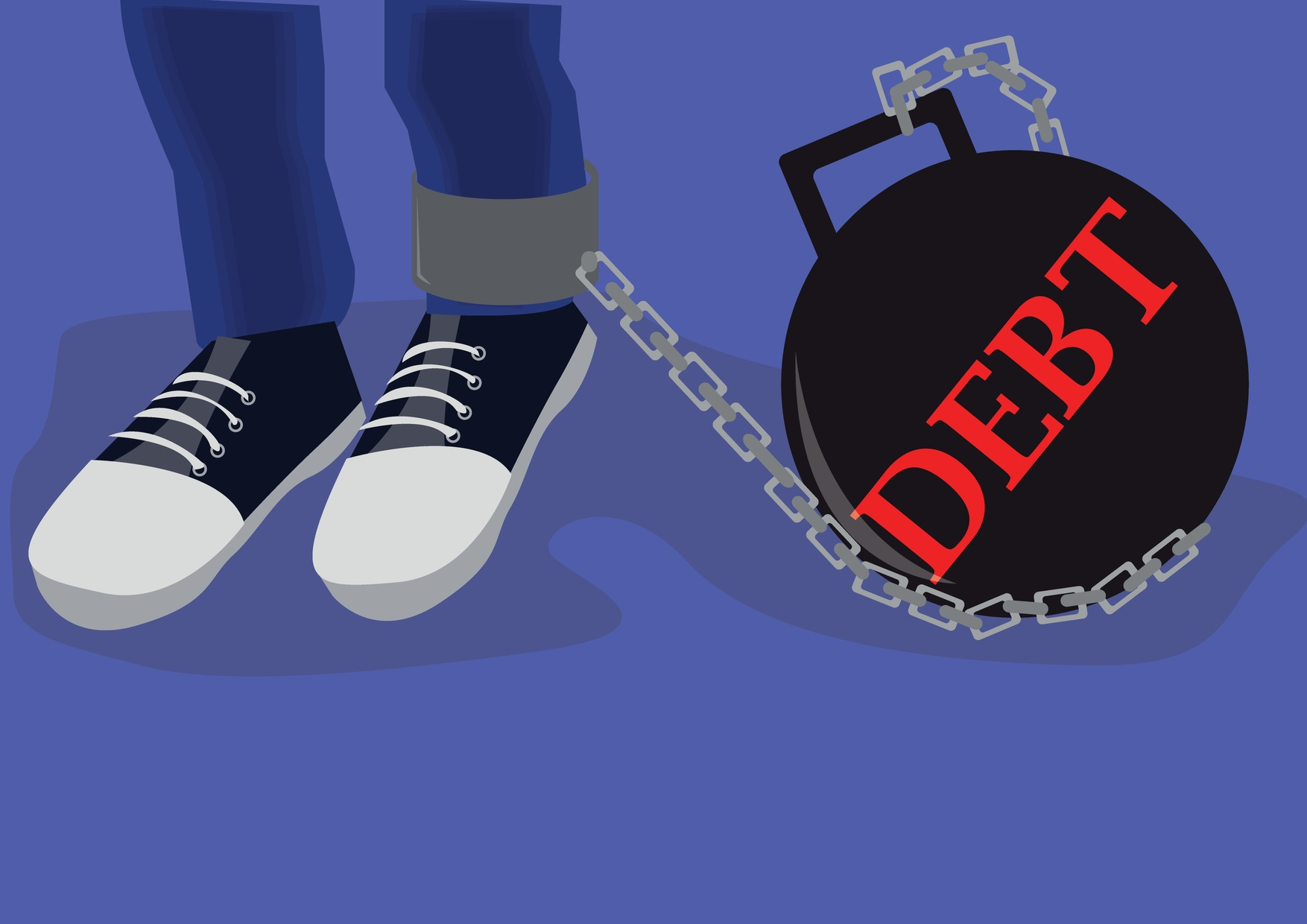 ball and chain with debt written on ball