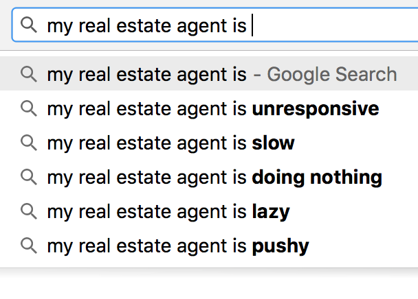 My real estate agent is lazy