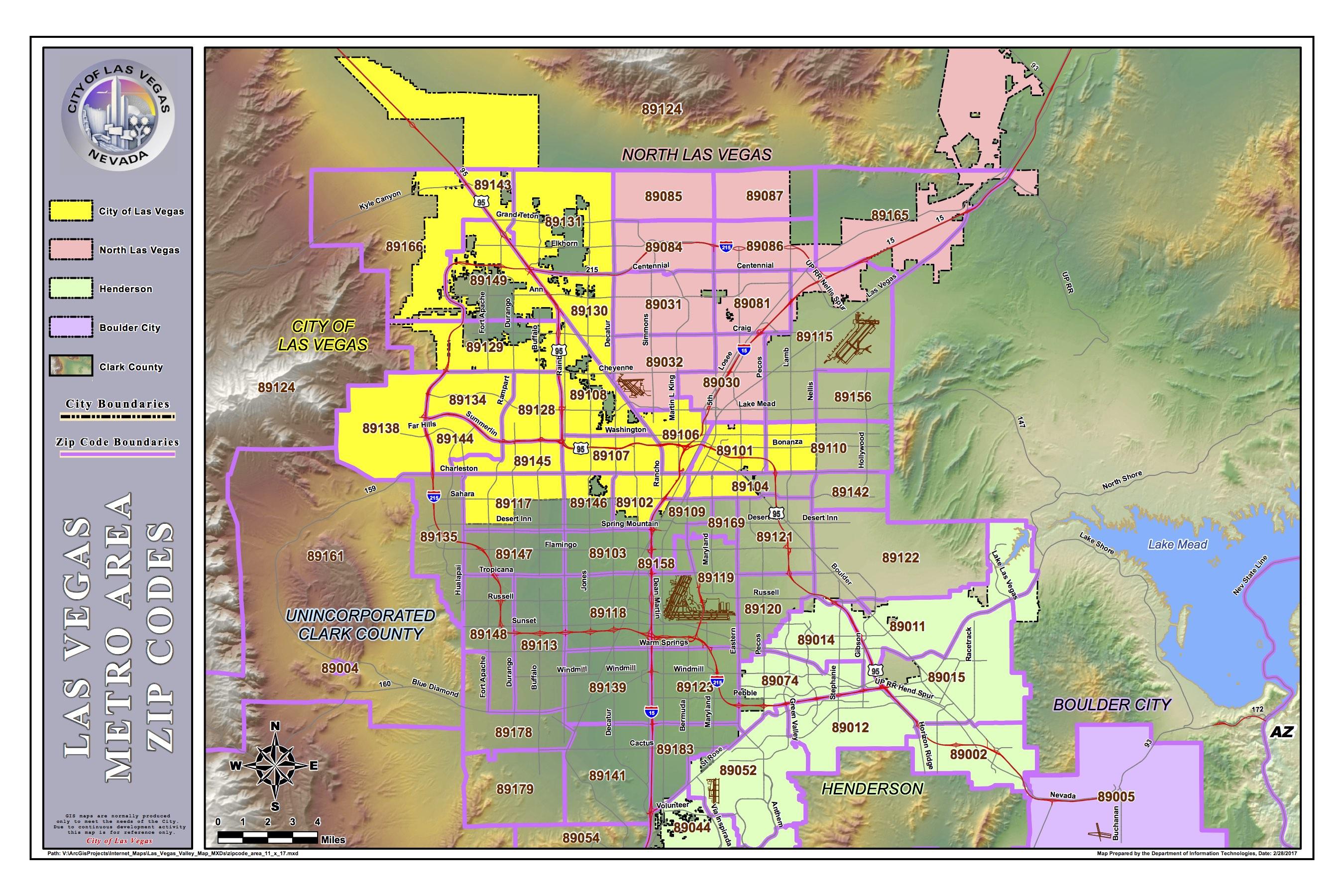 Las Vegas Zip Code Map 2017 SeeVegasHomes