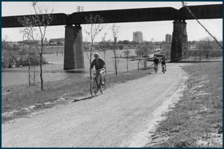 Vintage Austin: Kids Biking Along Lady Bird Lake
