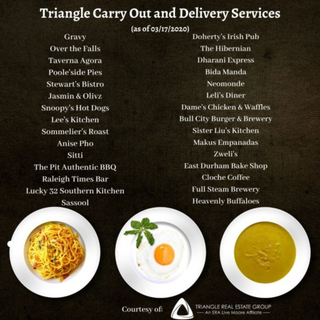 Triangle Carry Out or Delivery Options for Meals