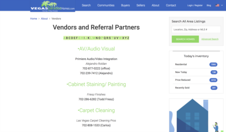 Our Preferred Vendors List - Client Resources