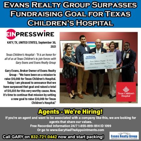 Evans Realty Group Surpasses Fundraising Goal for Texas Children's Hospital
