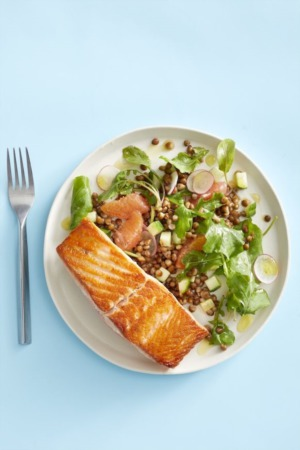 Easy Dinner Recipe Of The Week ~ Salmon with Grapefruit and Lentil Salad