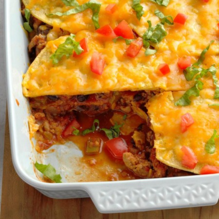 Easy Dinner Recipe Of The Week ~ Turkey and Black Bean Enchilada Casserole
