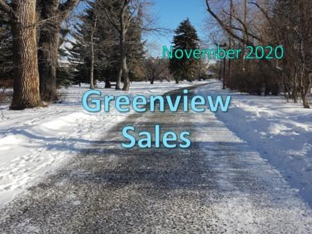 Greenview Housing Market Update November 2020