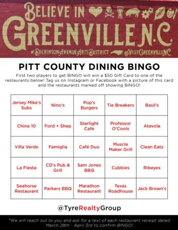 Pitt County Dining Bingo Giveaway