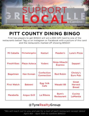 Pitt County Dining Bingo Giveaway #2