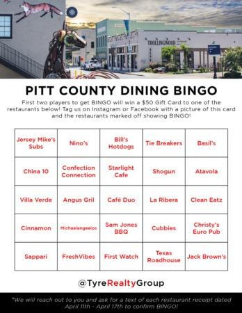 Pitt County Dining Bingo Giveaway #3