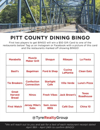 Pitt County Dining Bingo Giveaway #4