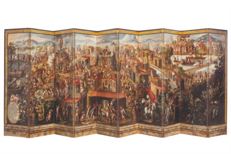 Screen depicting the Birth of Mexico City