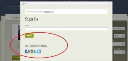 Social Login Now Implemented on the See Chicago Real Estate Network of Real Estate Websites