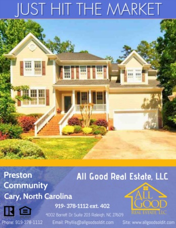 Just Hit The Market In Cary North Carolina