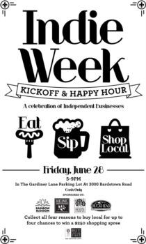 Indie Week Local Fair Gardiner Lane Shopping Center June 28th